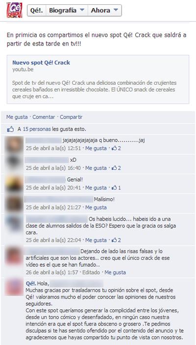 Comentarios facebook anuncio qé