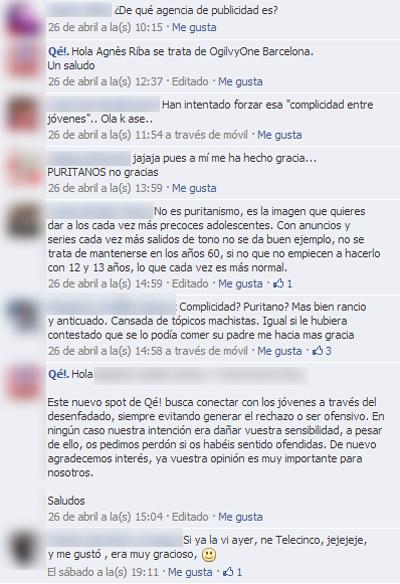 Comentarios facebook spot qé
