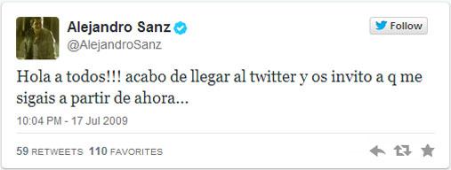 Primer tweet Alejandro Sanz