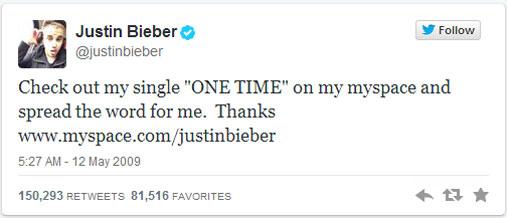 Primer tweet Justin Bieber