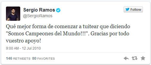 Primer tweet Sergio Ramos